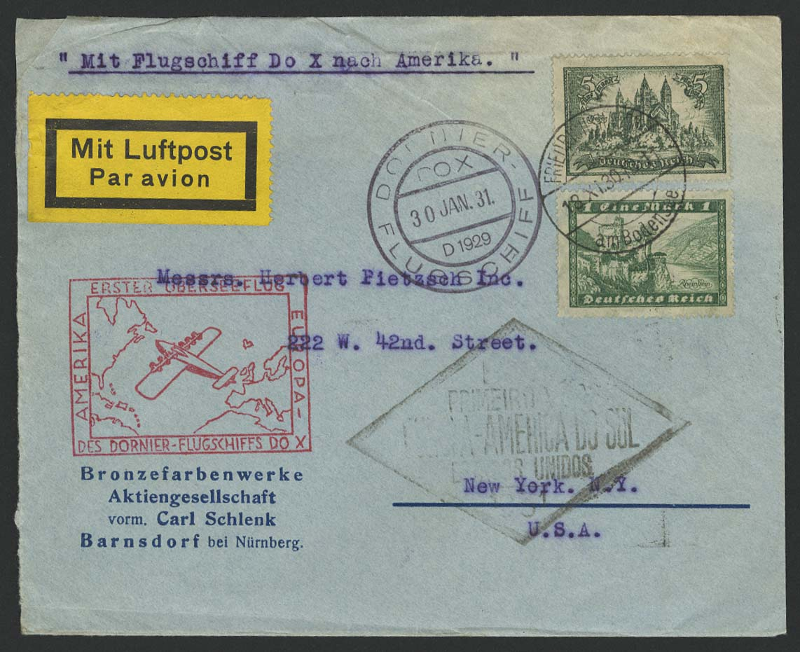 Lot 3127 - DO-X Flugpost (nach Harms-Katalog)  -  Auktionshaus Ulrich Felzmann GmbH & Co. KG Auction 161 from March 6-10, 2018