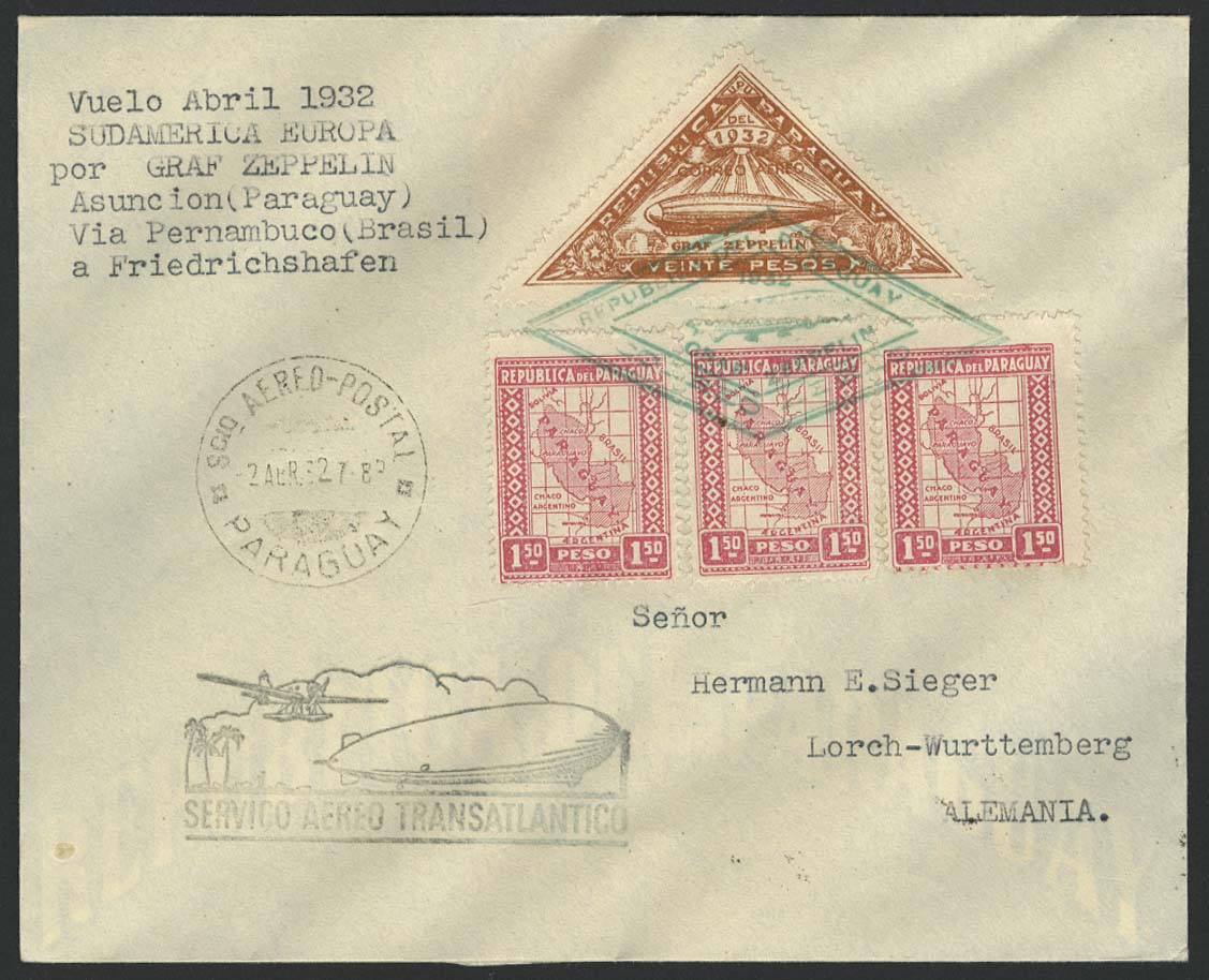 Lot 3374 - zeppelinpost nach sieger LZ 127 - 1932 -  Auktionshaus Ulrich Felzmann GmbH & Co. KG Auction #161 Philatelic & Numismatic