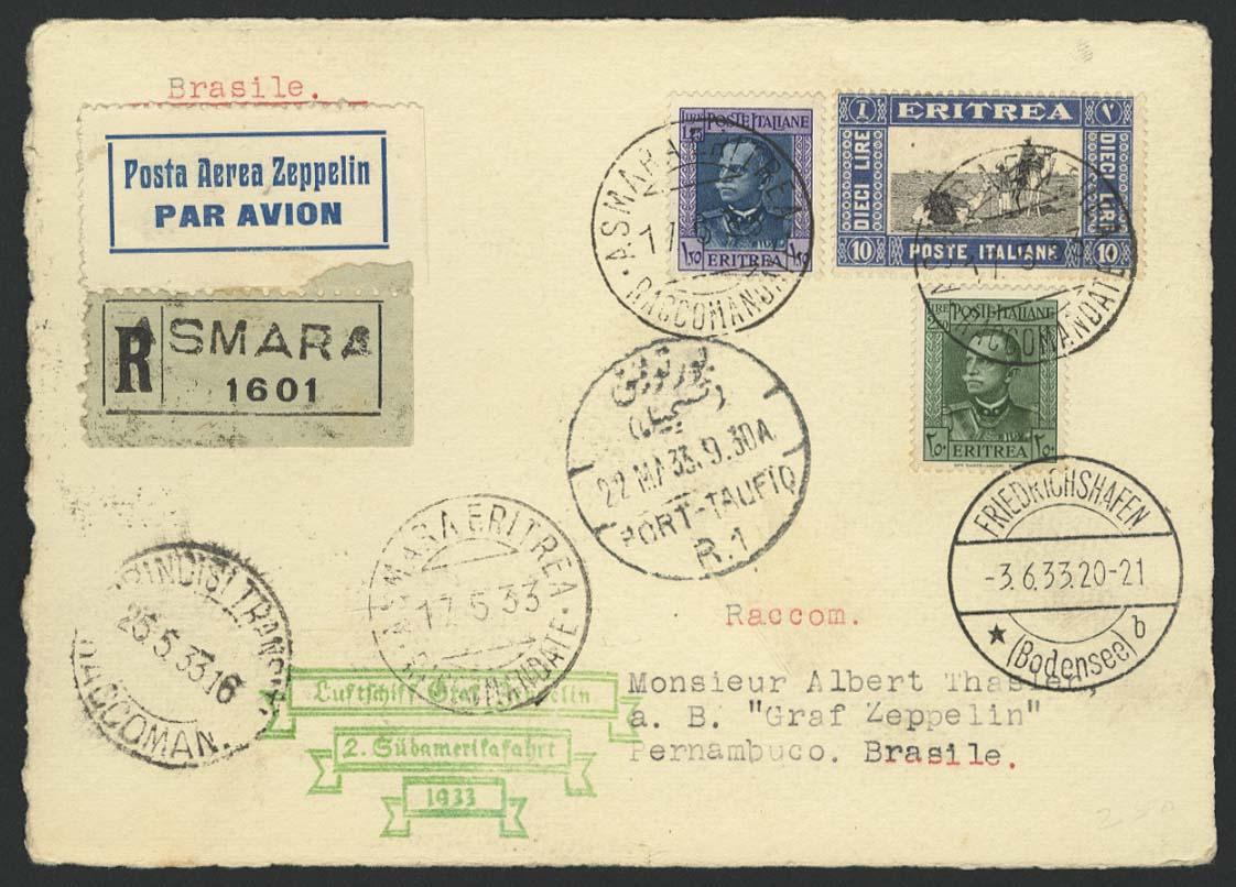 Lot 3675 - Zuleitungen Übersee A-Z - Eritrea (Italienisch) -  Auktionshaus Ulrich Felzmann GmbH & Co. KG Auction #161 Philatelic & Numismatic