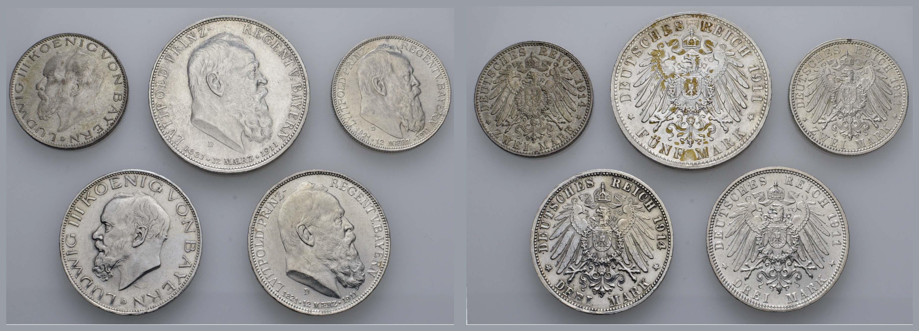 Lot 698 - deutschland Kaiserreich Silbermünzen - Bayern -  Auktionshaus Ulrich Felzmann GmbH & Co. KG Coins single lots