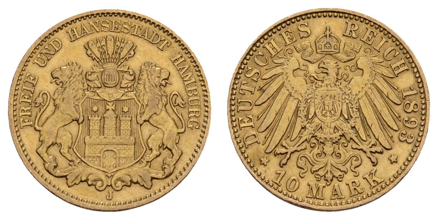 Lot 837 - deutschland Kaiserreich Goldmünzen - Hamburg -  Auktionshaus Ulrich Felzmann GmbH & Co. KG Coins single lots