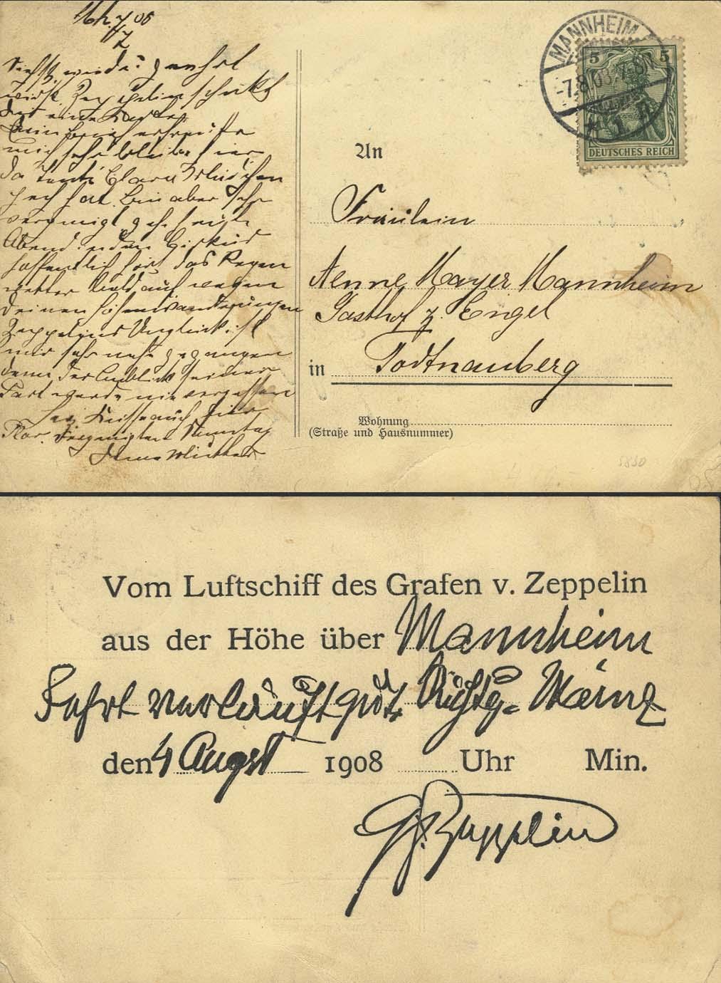 Lot 4119 - zeppelinpost nach sieger Pioniere - LZ 4 -  Auktionshaus Ulrich Felzmann GmbH & Co. KG