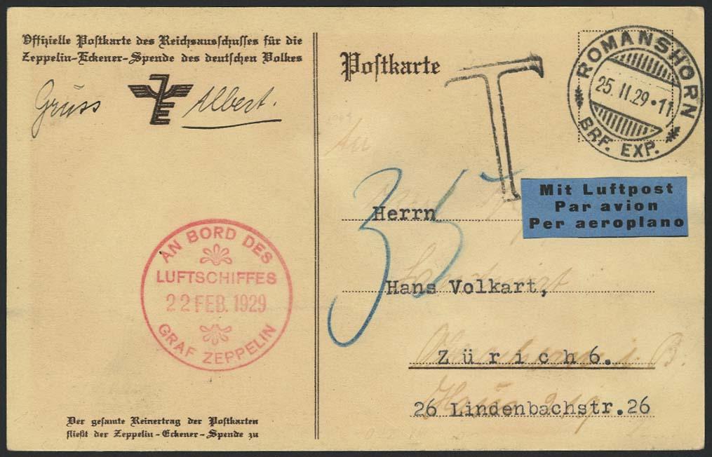 Lot 4144 - zeppelinpost nach sieger LZ 127 - 1929 -  Auktionshaus Ulrich Felzmann GmbH & Co. KG