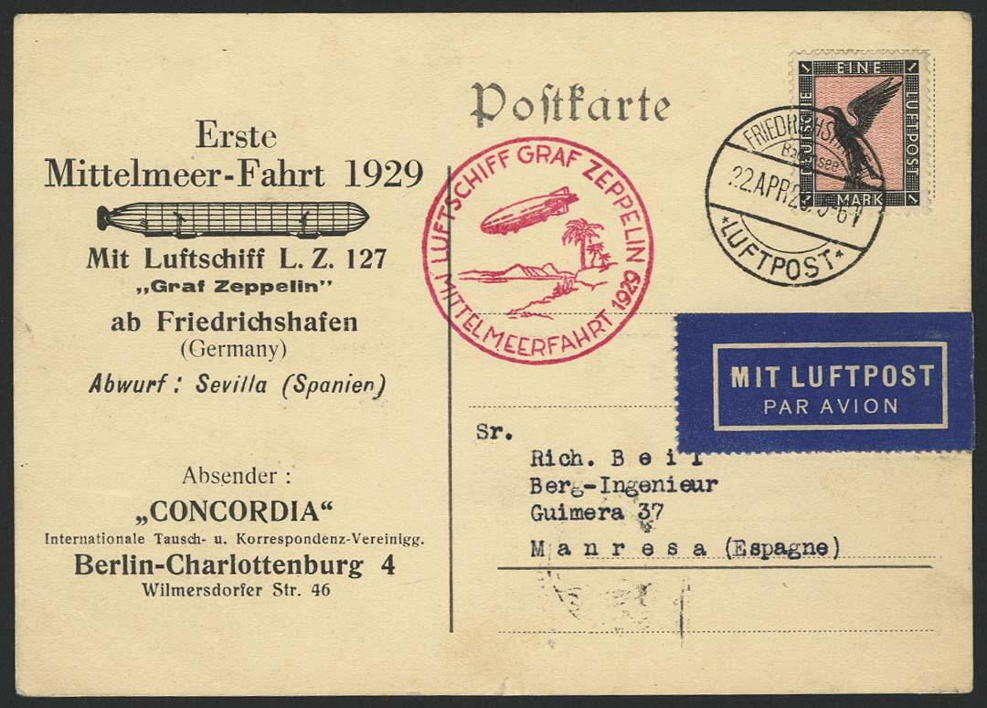 Lot 4148 - zeppelinpost nach sieger LZ 127 - 1929 -  Auktionshaus Ulrich Felzmann GmbH & Co. KG