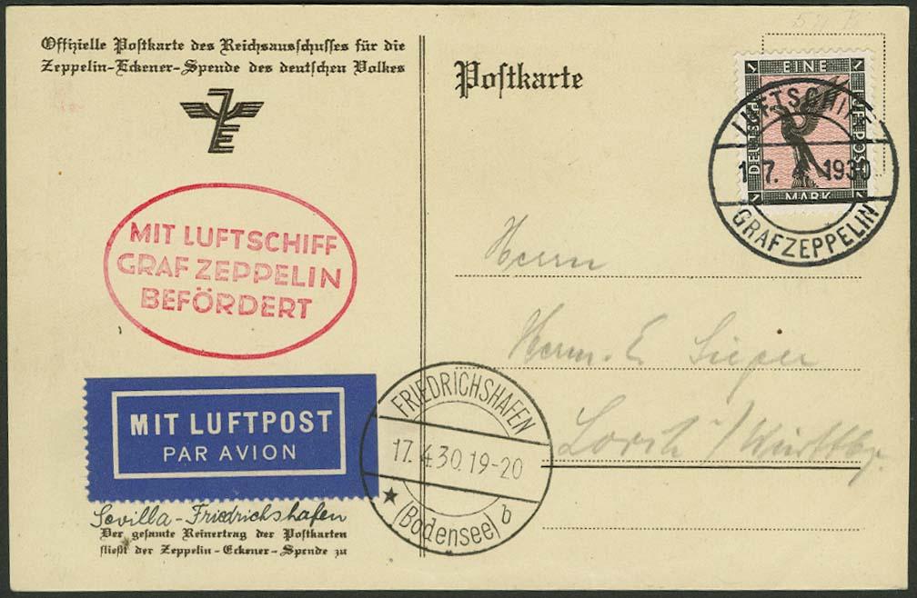 Lot 4205 - zeppelinpost nach sieger LZ 127 - 1930 -  Auktionshaus Ulrich Felzmann GmbH & Co. KG