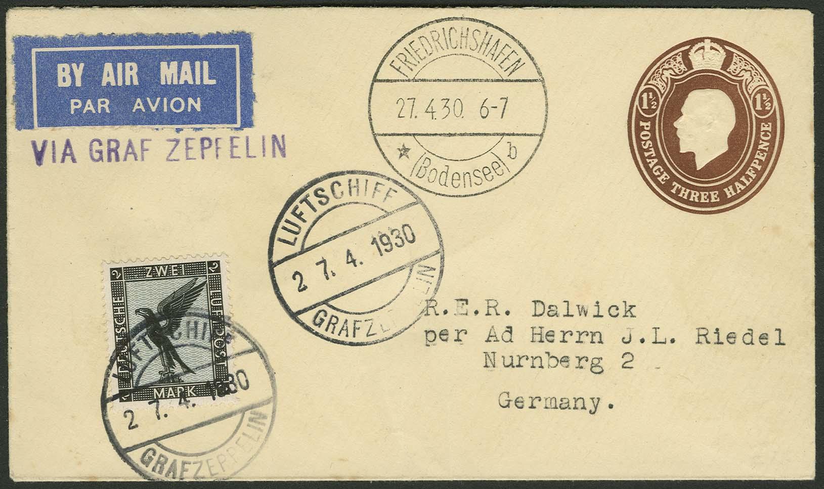 Lot 4207 - zeppelinpost nach sieger LZ 127 - 1930 -  Auktionshaus Ulrich Felzmann GmbH & Co. KG