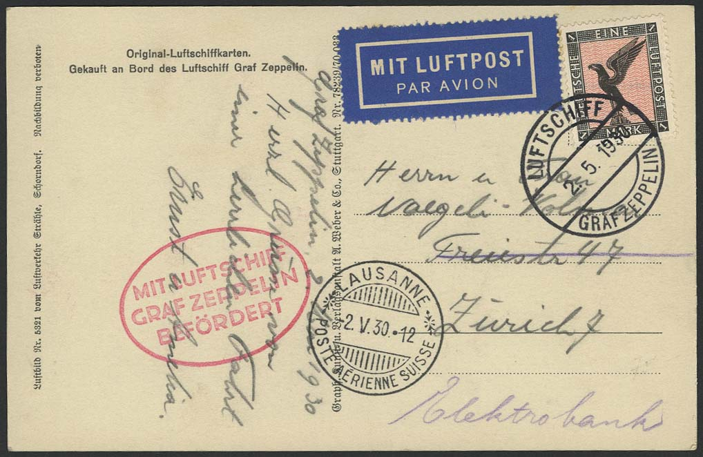 Lot 4208 - zeppelinpost nach sieger LZ 127 - 1930 -  Auktionshaus Ulrich Felzmann GmbH & Co. KG