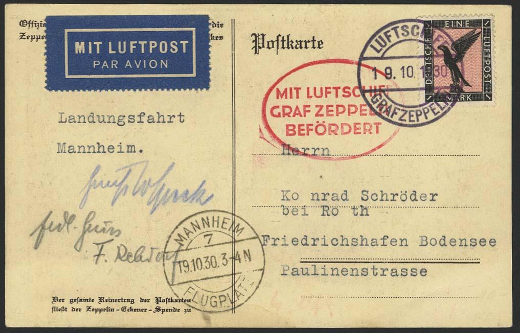 Lot 4249 - zeppelinpost nach sieger LZ 127 - 1930 -  Auktionshaus Ulrich Felzmann GmbH & Co. KG