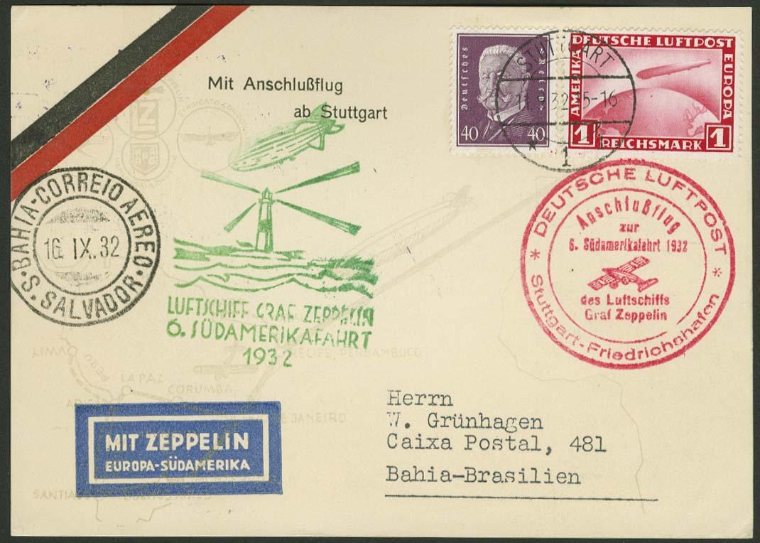 Lot 4296 - zeppelinpost nach sieger LZ 127 - 1932 -  Auktionshaus Ulrich Felzmann GmbH & Co. KG