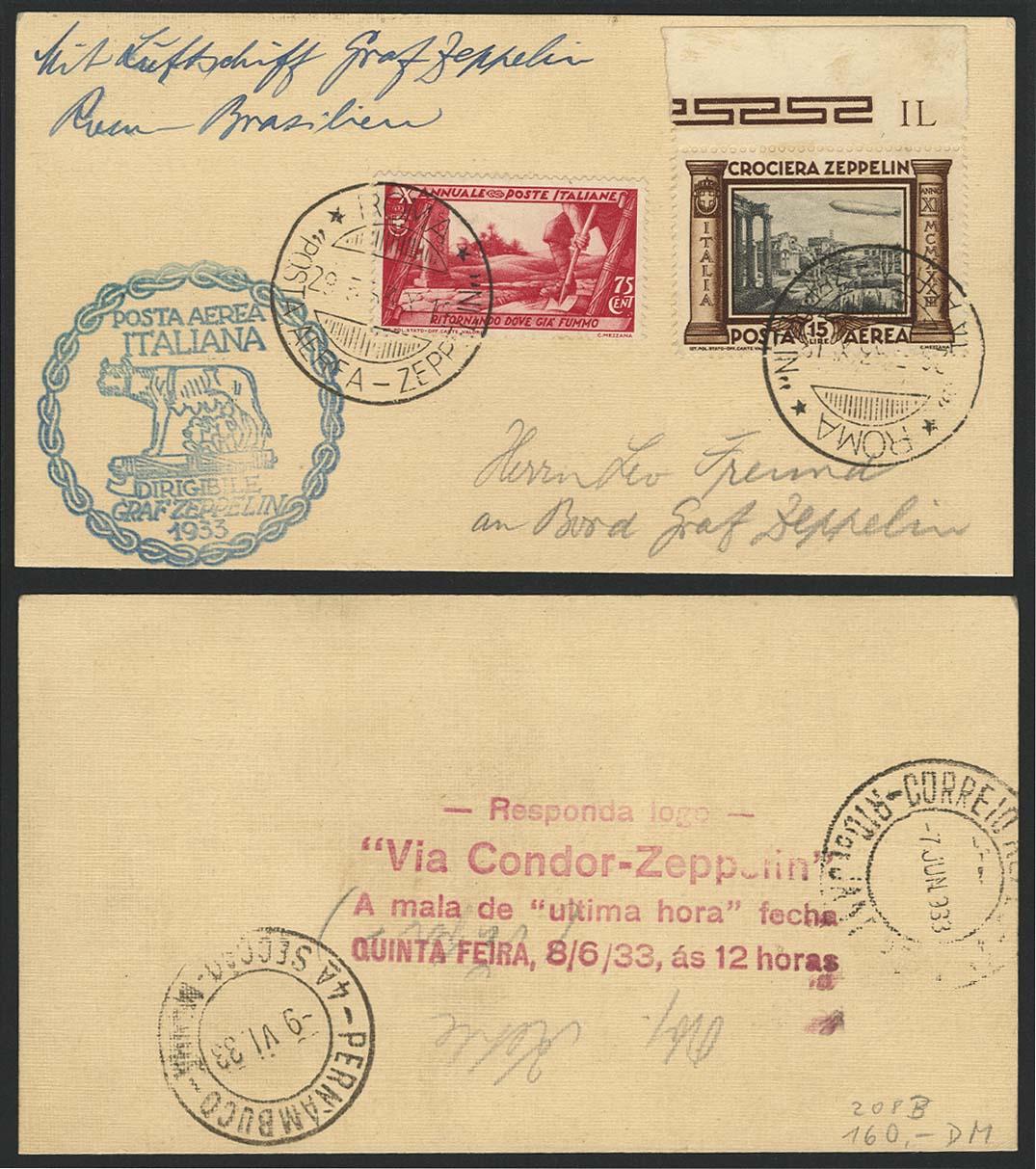 Lot 4322 - zeppelinpost nach sieger LZ 127 - 1933 -  Auktionshaus Ulrich Felzmann GmbH & Co. KG