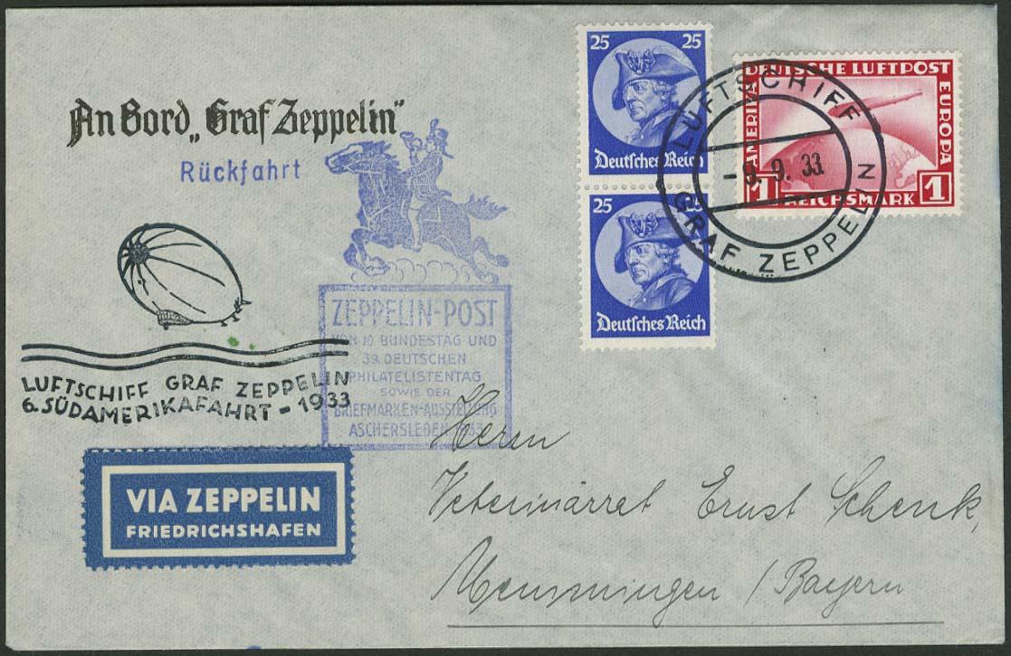 Lot 4399 - zeppelinpost nach sieger LZ 127 - 1933 -  Auktionshaus Ulrich Felzmann GmbH & Co. KG