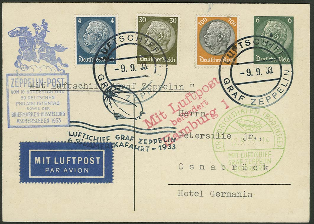 Lot 4400 - zeppelinpost nach sieger LZ 127 - 1933 -  Auktionshaus Ulrich Felzmann GmbH & Co. KG