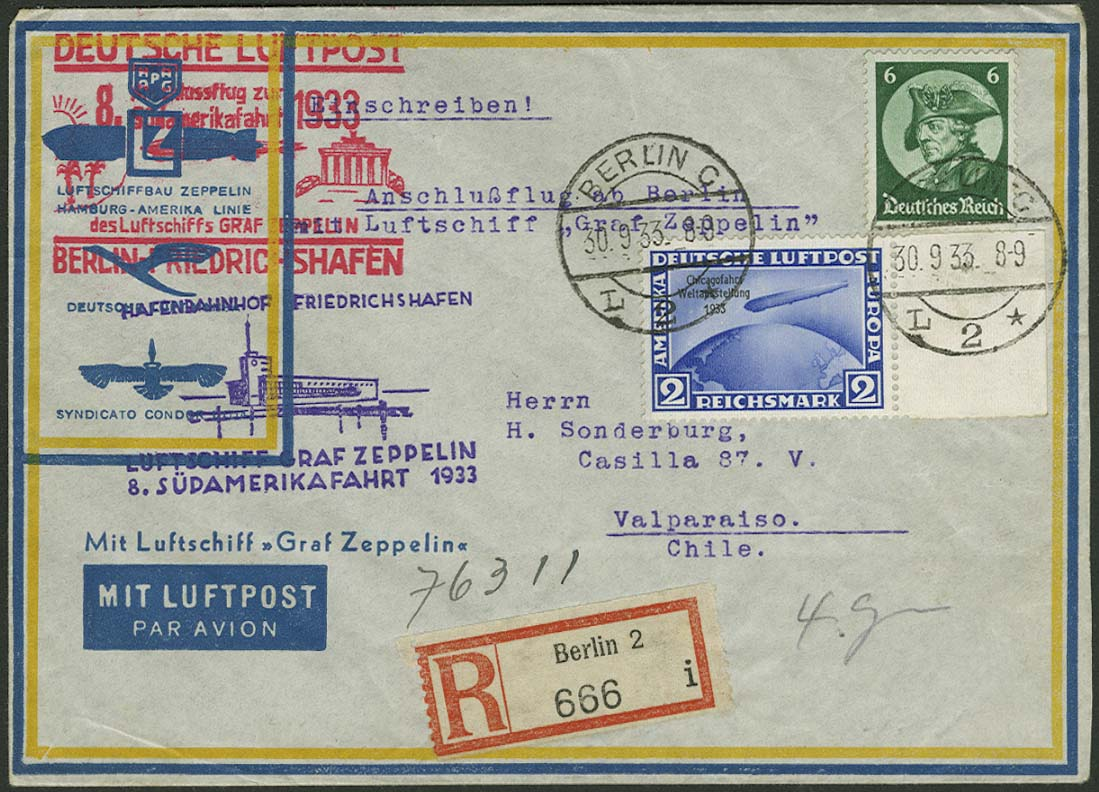 Lot 4401 - zeppelinpost nach sieger LZ 127 - 1933 -  Auktionshaus Ulrich Felzmann GmbH & Co. KG