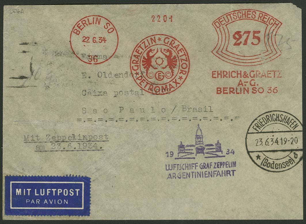 Lot 4413 - zeppelinpost nach sieger LZ 127 - 1934 -  Auktionshaus Ulrich Felzmann GmbH & Co. KG