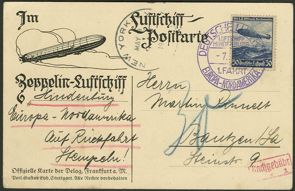 Lot 4423 - zeppelinpost nach sieger LZ 129 - 1936 -  Auktionshaus Ulrich Felzmann GmbH & Co. KG
