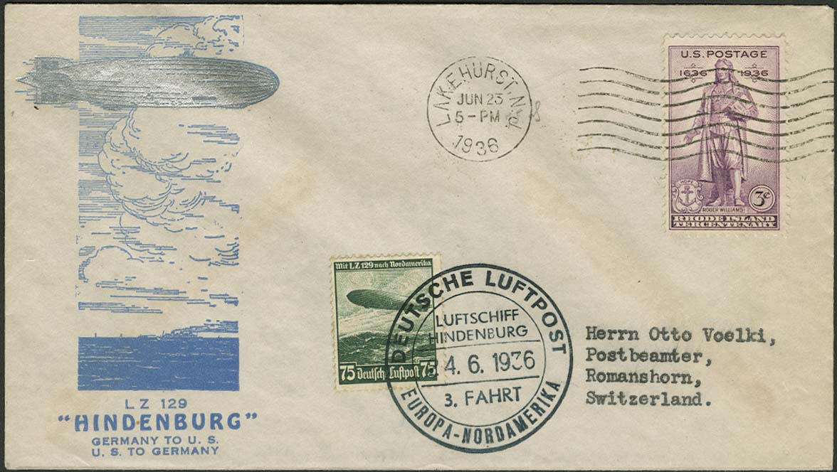 Lot 4424 - zeppelinpost nach sieger LZ 129 - 1936 -  Auktionshaus Ulrich Felzmann GmbH & Co. KG