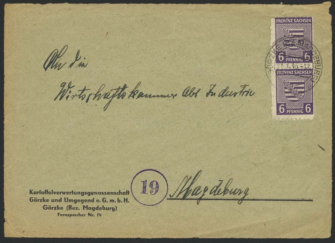 Lot 6375 - sbz Provinz Sachsen - Wappenausgabe -  Auktionshaus Ulrich Felzmann GmbH & Co. KG