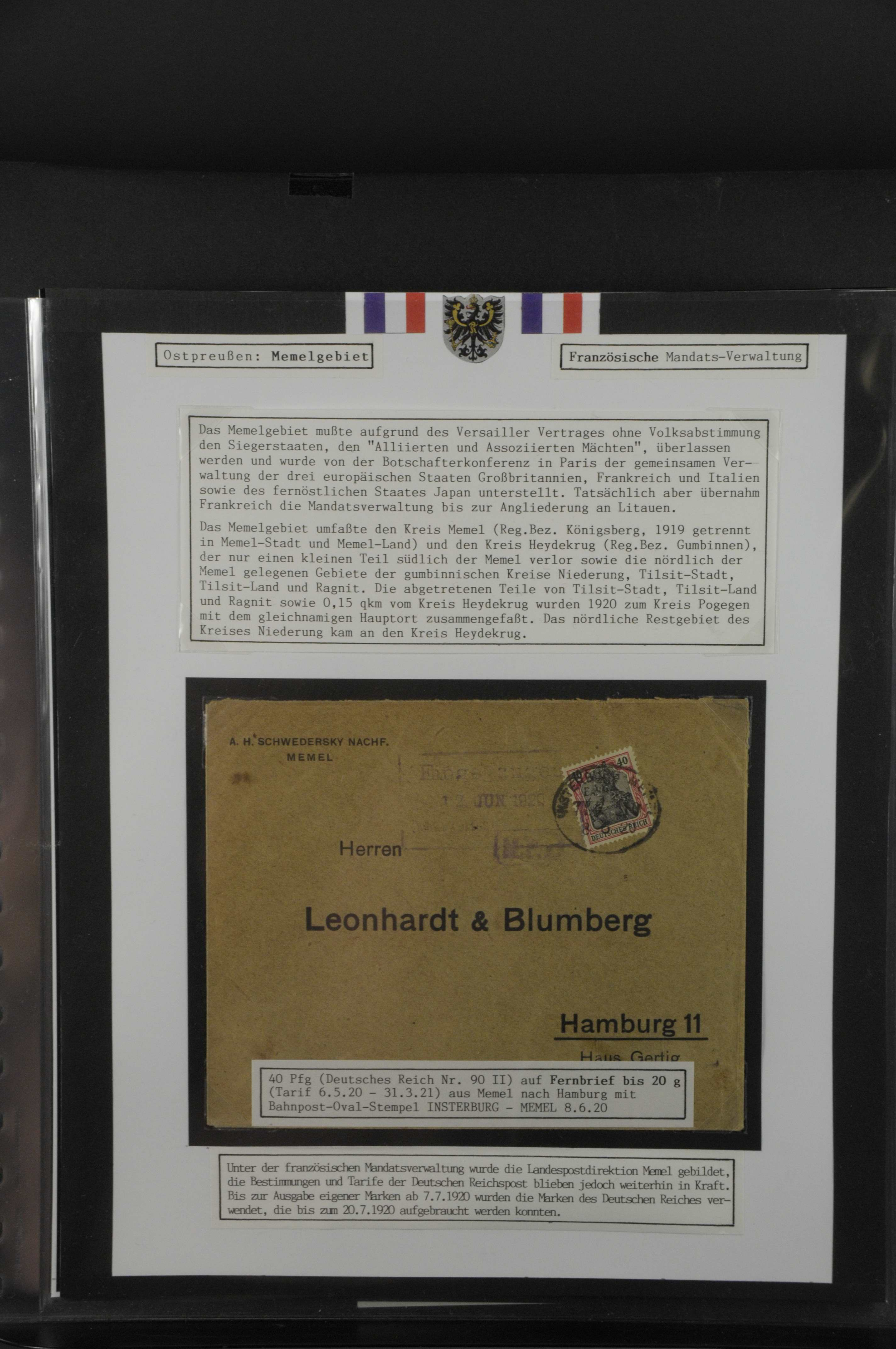 Lot 8008 - Memel Markenausgaben -  Auktionshaus Ulrich Felzmann GmbH & Co. KG Auction 165   Philately, Airmail, Zeppelinmail and Astrophilately, international,  German and collections.