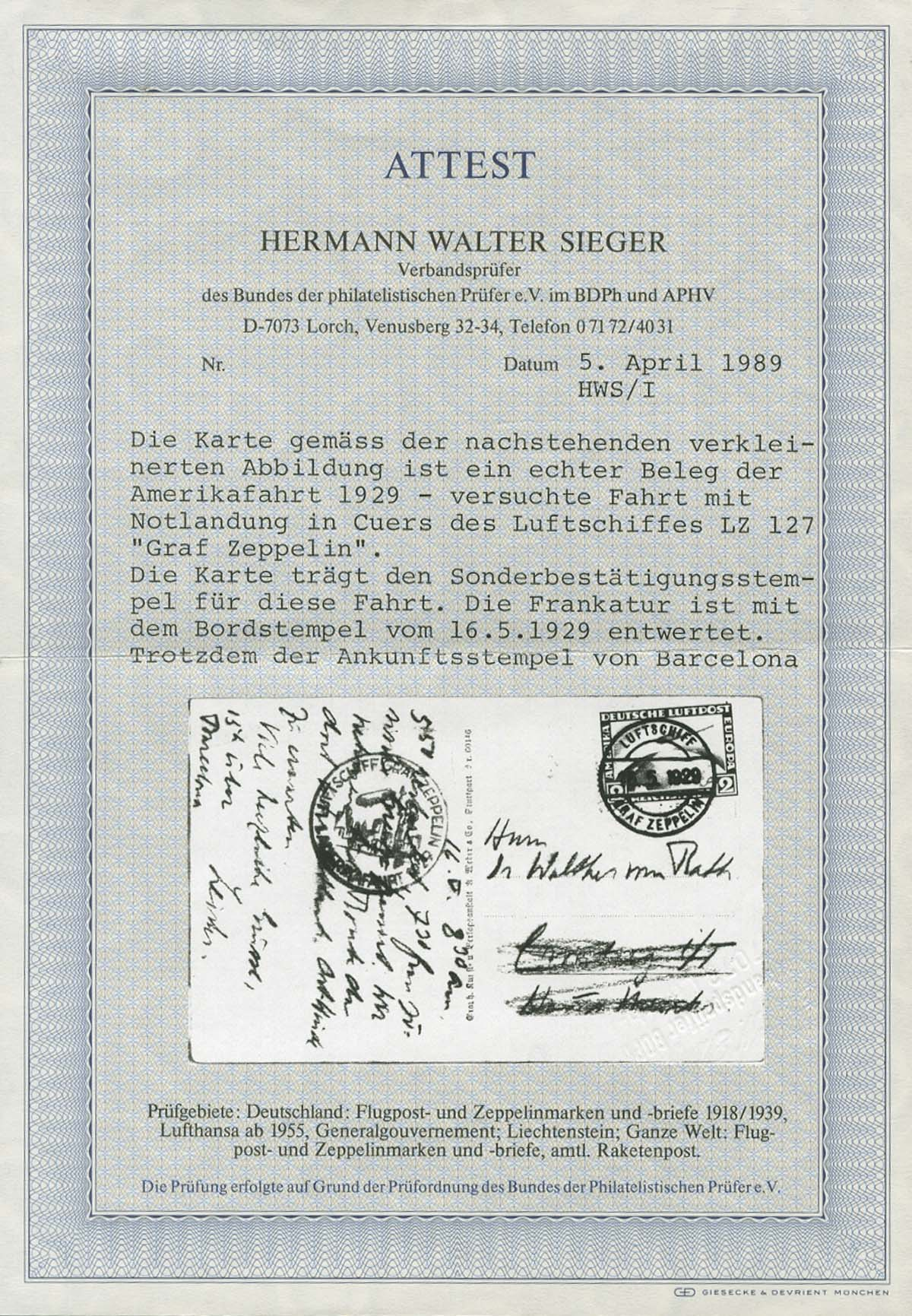 Lot 3044 - Zeppelinpost nach Sieger LZ 127 1929  -  Auktionshaus Ulrich Felzmann GmbH & Co. KG Auction 169