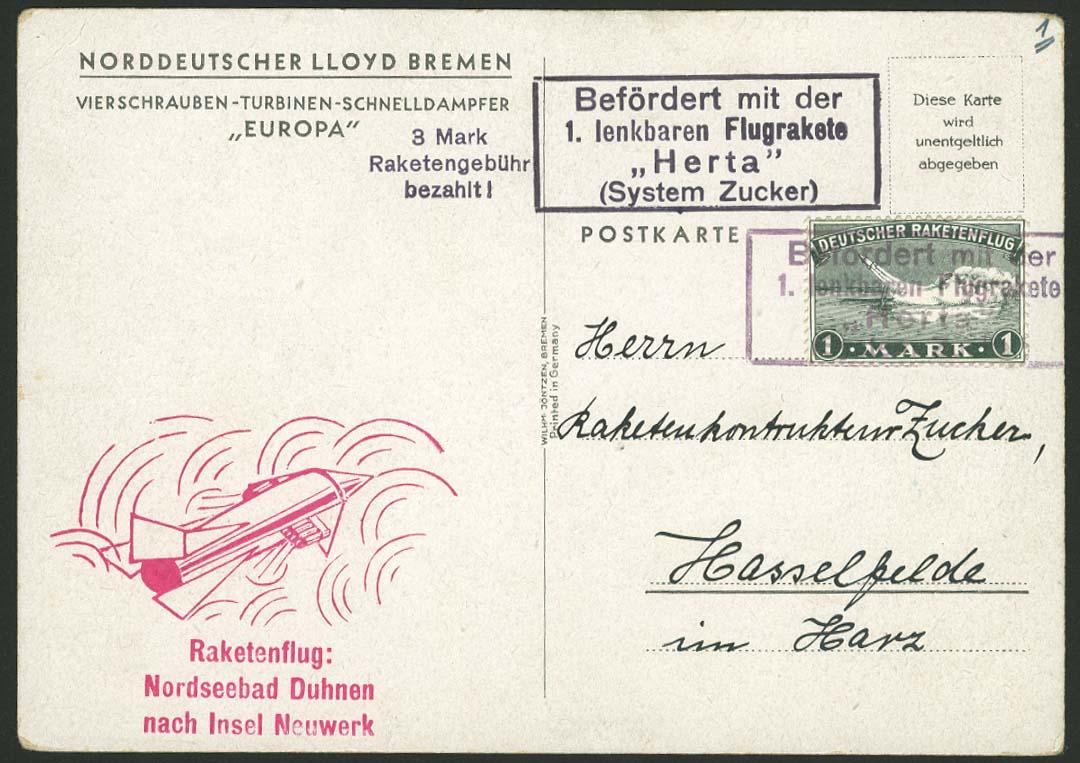 Lot 3258 - Astrophilatelie Raketenpost Deutschland  -  Auktionshaus Ulrich Felzmann GmbH & Co. KG Auction 169